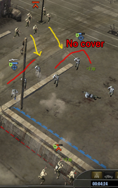 Use a squad in green cover to stay in the fight, then flank with other squads