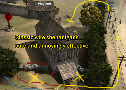 Wire prevents Riflemen from seizing the house and cutting you off