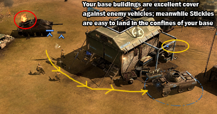 Production buildings can be effective defenses.