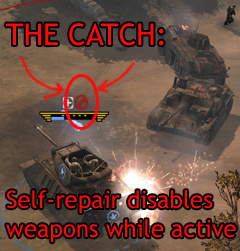 Self-repair disables weapons; Field Repairs reduce rate of fire